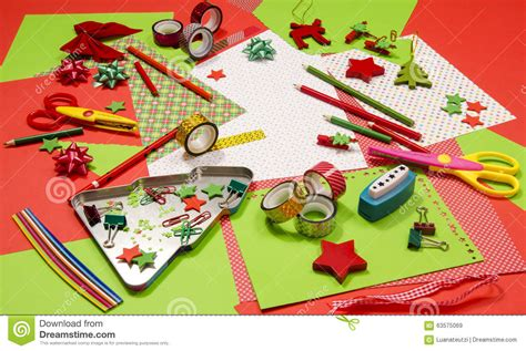 arts and craft supplies for christmas stock image image