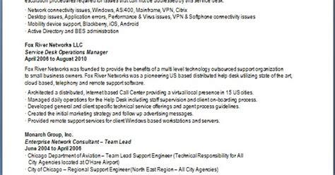 service desk engineer sle resume format in word free