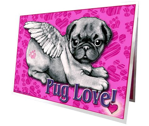 pug valentines card pug greetings cards by pugs might fly