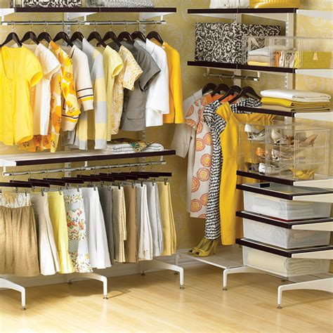 The Container Store Closets by Walnut White Elfa D 233 Cor Freestanding Walk In Closet