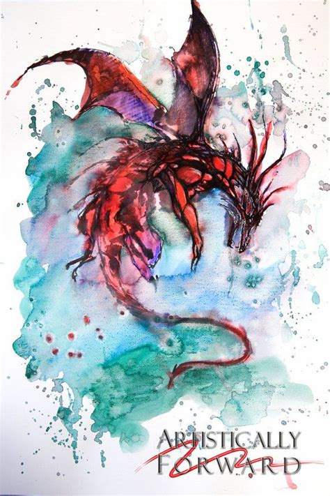 flying watercolor painting print by