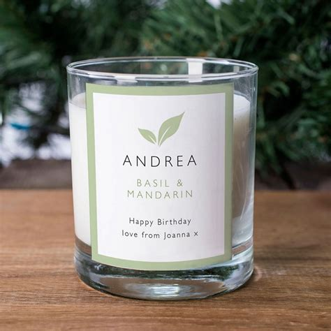 personalised scented candle birthday green