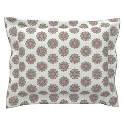flower fantasy square pillow fuchsia 08039300037km fancy spoonstar flowers on snowy white on catalan by