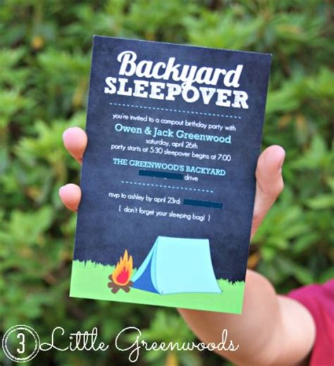 backyard birthday invitations backyard cout archives 3 greenwoods