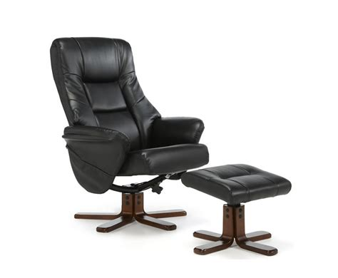 welton black faux leather massage recliner chair stool