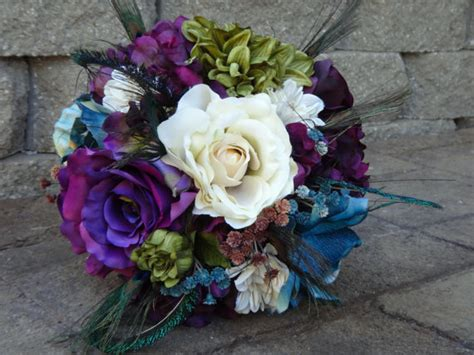 Wedding Bouquet Eggplant by Peacock Bridal Bouquet Eggplant Purple Teal Olive Green