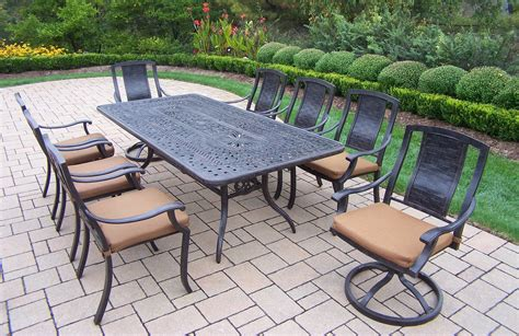 patio furniture with sunbrella fabric oakland living aluminum patio dining set 84x42 quot table