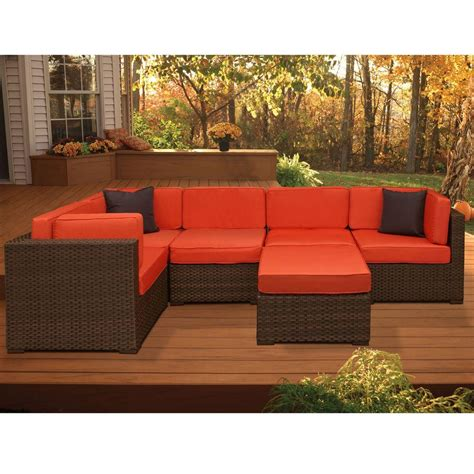 home depot outdoor sectional atlantic contemporary lifestyle bellagio brown 6 piece all
