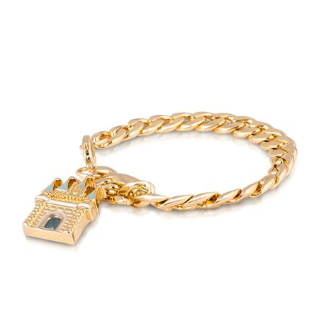 disney couture 14kt gold plated magic castle curb link