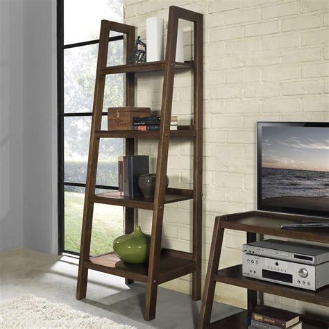 Simpli Home Sawhorse 4 Shelf Bookcase Ladder Shelf In Bookshelves Ladder