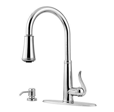 price pfister gt531 ypc ashfield polished chrome two polished chrome ashfield 1 handle pull down kitchen