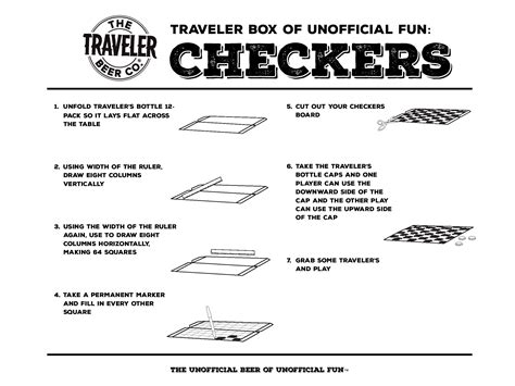 printable directions for checkers box of unofficial fun traveler beer company