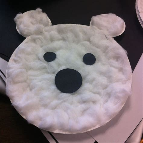 White Paper Crafts - polar paper craft used a paper plate with cotton