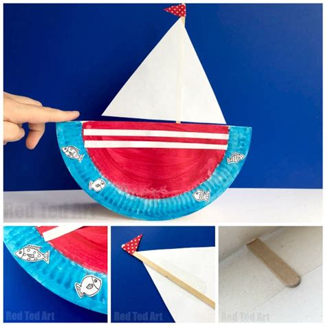 how to make a paper plate boat rocking paper plate boat red ted art s blog