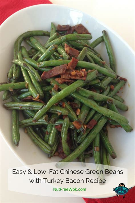 easy low fat chinese green beans with turkey bacon recipe