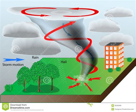 diagram of how a tornado forms tornado stock vector illustration of cloudy
