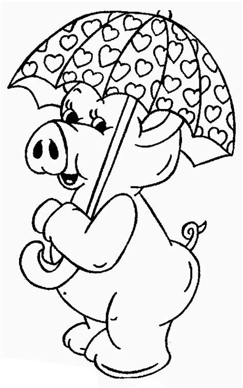 Desenho de Porco e guarda-chuva para colorir - Tudodesenhos