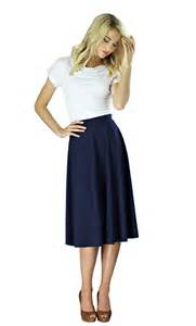 Midi crepe quot modest skirt in navy blue
