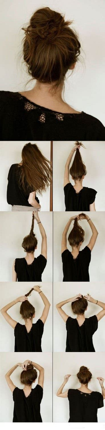 casual hairstyles with steps easy casual messy bun hairstyle step by step staplepost