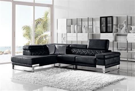 leather modern sectional divani casa arden modern black fabric sectional sofa