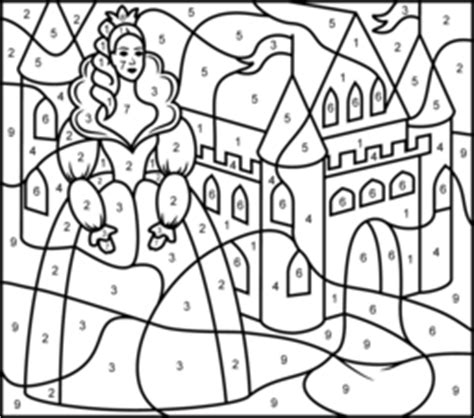 princess coloring pages by numbers princess and castle coloring page printables apps for kids
