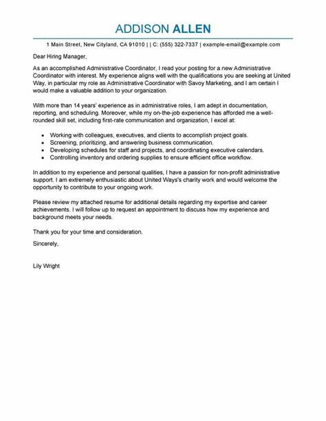 administrative coordinator cover letter examples - Cold Cover Letter Samples