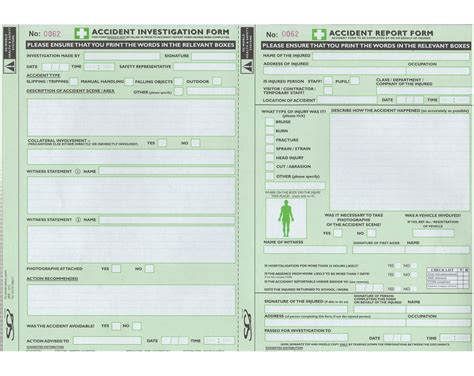 hse report template reporting and investigation form available from