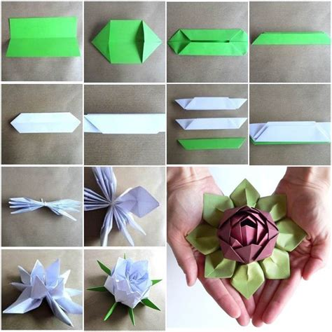 Origami Lotus Flower - wonderful diy origami kusudama flower