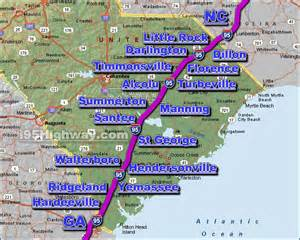 map of carolina along i 95 i 95 south carolina driving distance