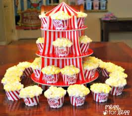 circus popcorn cupcakes circus party ideas mess