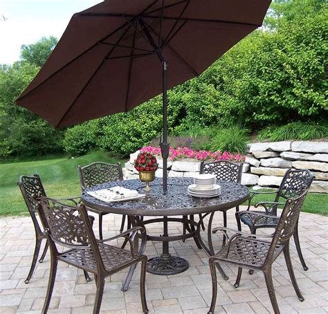 home decor express 60 in 9 pc dining table set w umbrella and stand