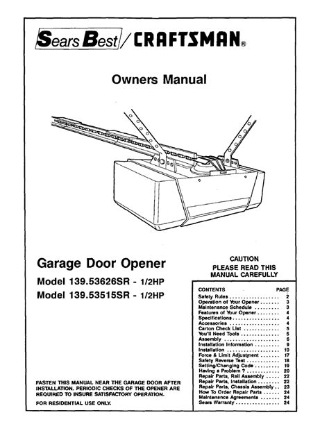 craftsman hp garage door opener sr user manual