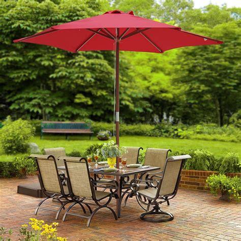 Umbrella For Patio - 8ft 6 ribs patio wood umbrella wooden pole outdoor garden