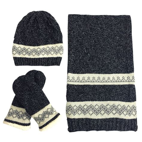 womens woolly thick knit hat scarf and mitten