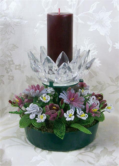 beaded flower arrangements beaded flower petal flower candle arrangement