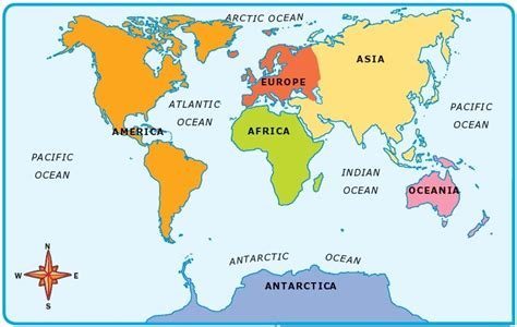 7 continents map 7 continents of the world and the 5 oceans list