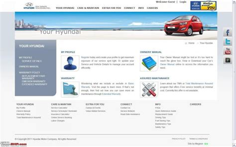 launched feature service website for hyundai car