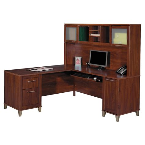 L Shaped Desk And Hutch Bush Somerset L Shaped Desk With Hutch Desks At Hayneedle