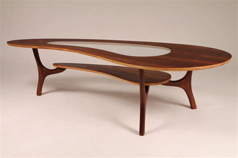 1960 walnut coffee table veneer kidney shaped with center