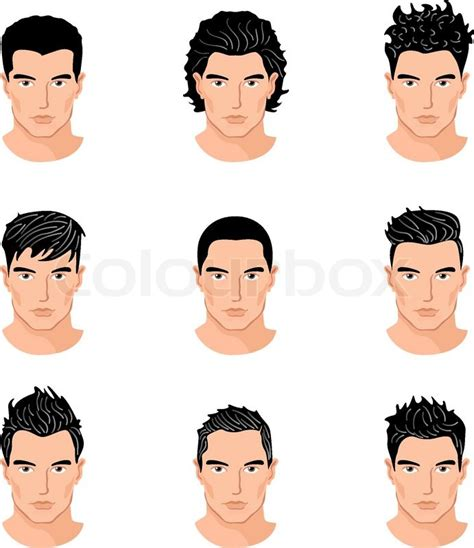 cartoon guy hairstyles set of close up different hair style young men portraits