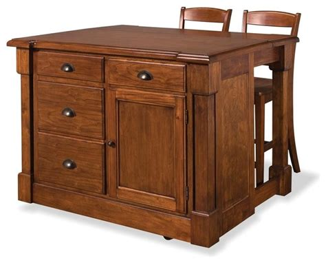 rustic kitchen islands and carts aspen rustic cherry kitchen island and two bar stools transitional kitchen islands and
