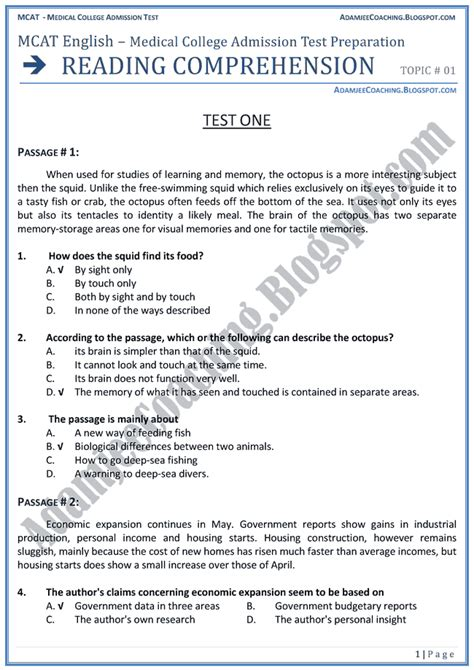Reading Comprehension Test Sle | adamjee coaching mcat english reading comprehension