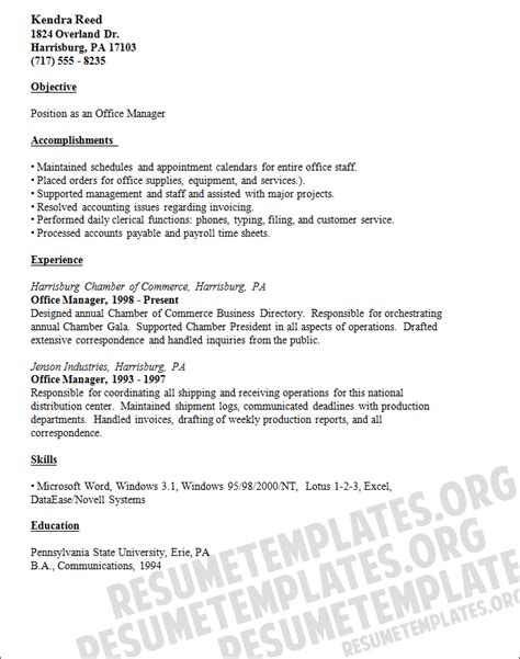 office manager resume template responsible for