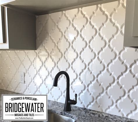 Faux Tin Kitchen Backsplash arabesque whisper white glazed ceramic wall tile beveled