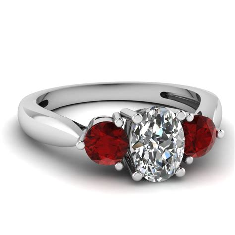 white gold oval white engagement wedding ring