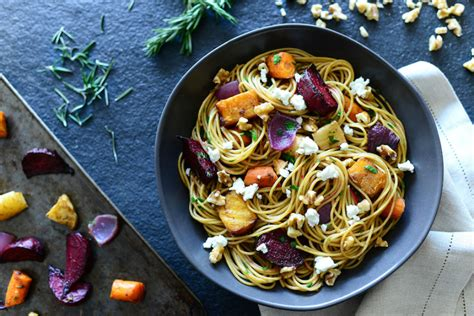 roasted root vegetable pasta roasted root vegetable pasta with goat cheese and walnuts
