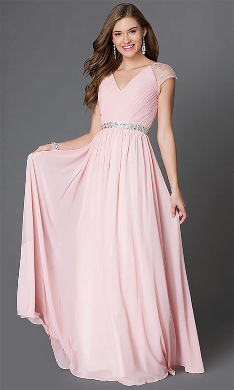 long  neck prom dress  cap sleeves promgirl