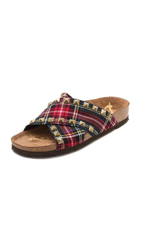 sam edelman studded sandals sam edelman arina studded slide sandals redblack in