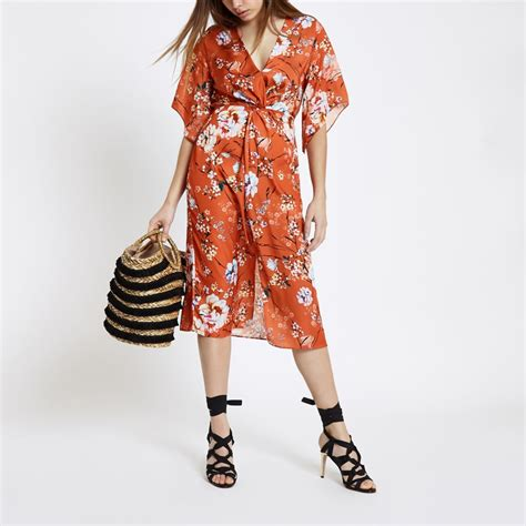 Floral Sleeve Midi Dress orange floral kimono sleeve midi dress dresses sale