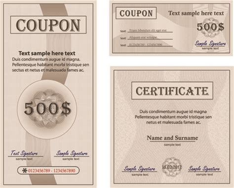 coupon certificate template free certificate template free vector 13 031